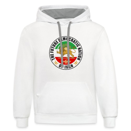 Iran Emblem Old Flag With Lion - Contrast Hoodie