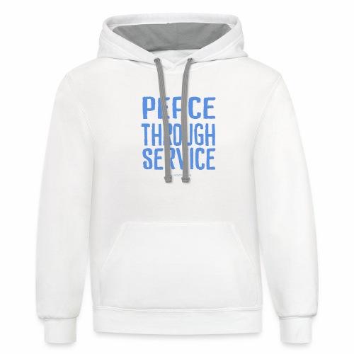 Peace Thru Service - Unisex Contrast Hoodie