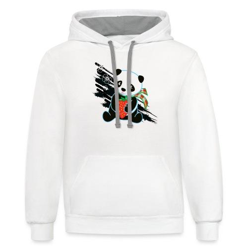 Cute Kawaii Panda T-shirt by Banzai Chicks - Unisex Contrast Hoodie