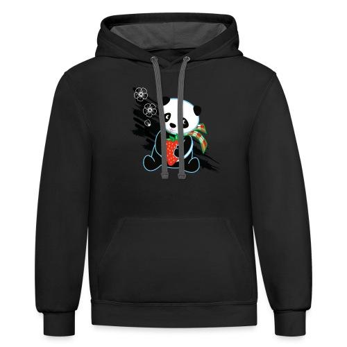 Cute Kawaii Panda T-shirt by Banzai Chicks - Contrast Hoodie