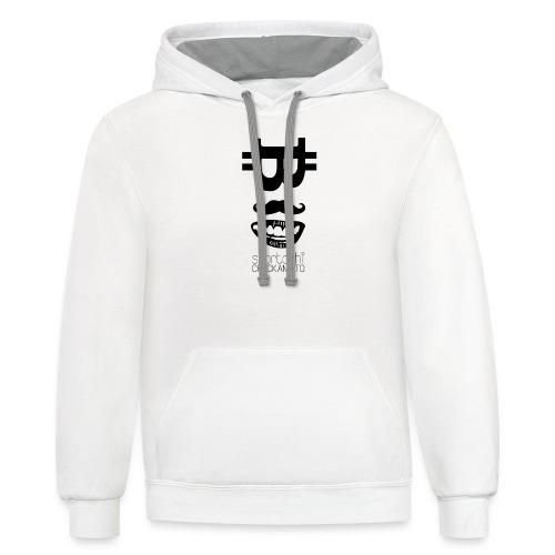 Bitcoin Tshirt - Snortoshi Crackamoto - Contrast Hoodie