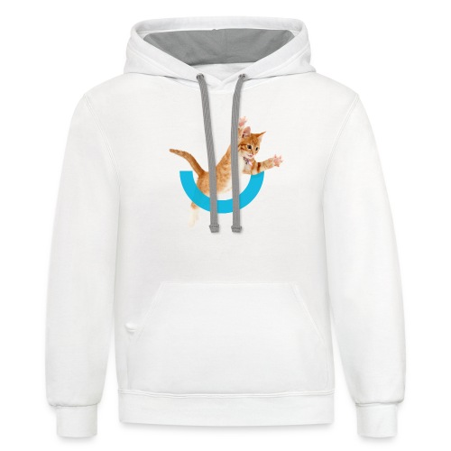 Jumping Kitty and Logo (in back) - Unisex Contrast Hoodie