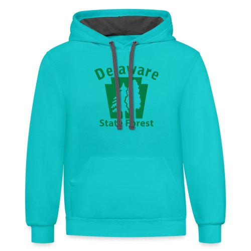 Delaware State Forest Keystone (w/trees) - Contrast Hoodie
