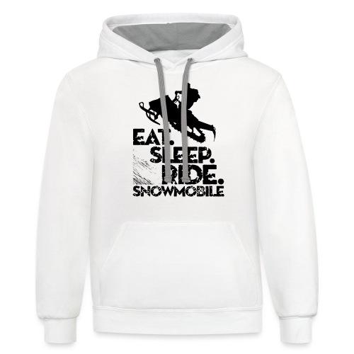 Snowmobiling Eat Sleep - Contrast Hoodie