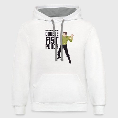 Captain Kirk Double Fist Punch - Unisex Contrast Hoodie