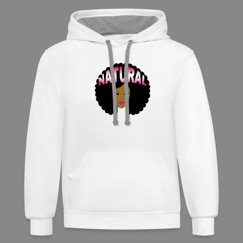 Natural Afro (Pink) - Unisex Contrast Hoodie