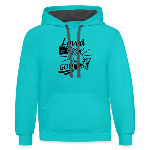Loved By God (Black Letters) - Contrast Hoodie