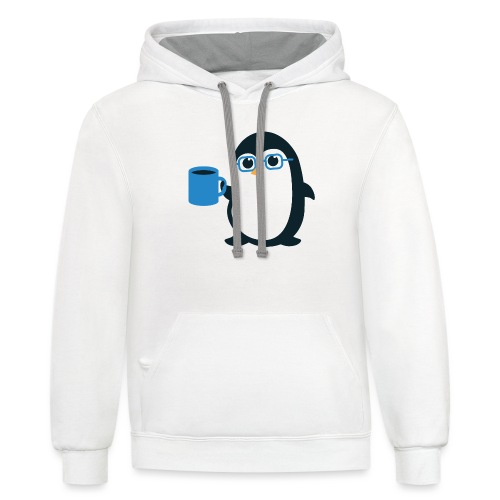 Penguin Coffee Cute - Blue Glasses - Contrast Hoodie