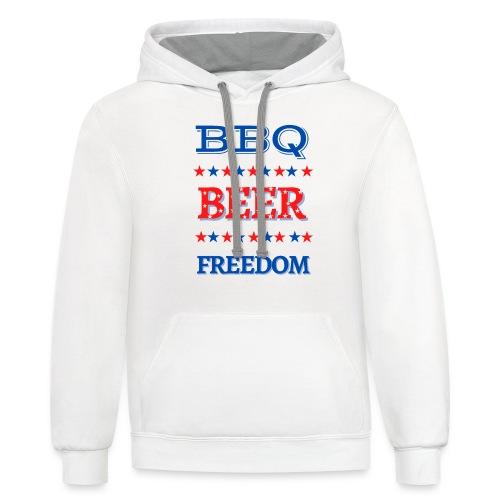 BBQ BEER FREEDOM - Unisex Contrast Hoodie