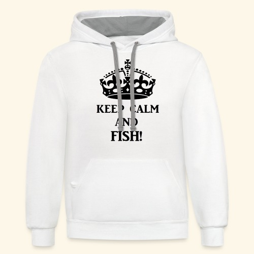 keep calm fish blk - Unisex Contrast Hoodie