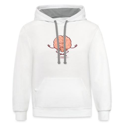 Cartoon brain meditating in lotus pose - Contrast Hoodie