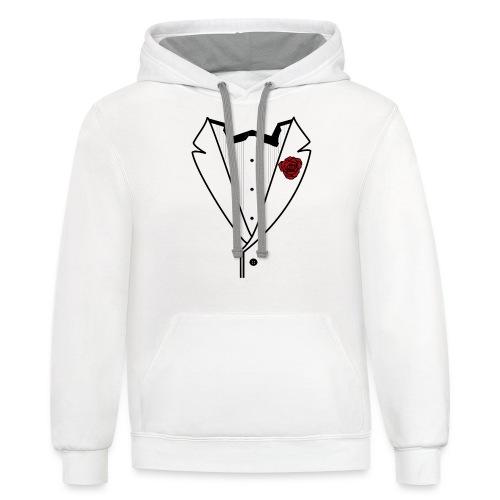 Tuxedo w/Black Lined Lapel - Unisex Contrast Hoodie