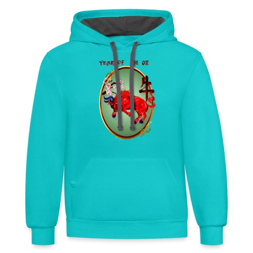 The Red Ox Oval - Contrast Hoodie
