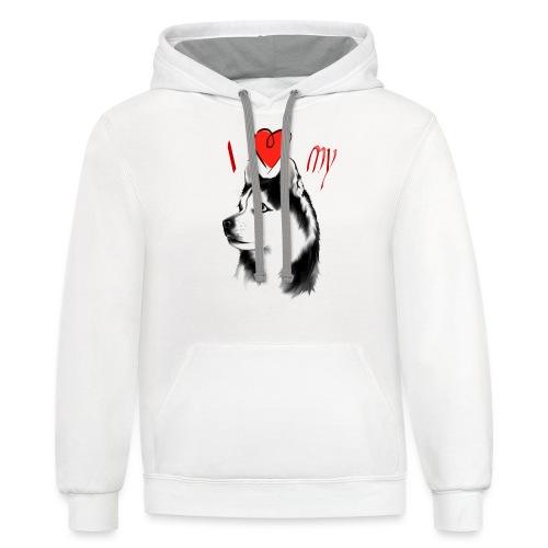 I Love My Siberian Husky - Contrast Hoodie