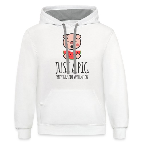 Just A Pig Enjoying Some Watermelon - Contrast Hoodie
