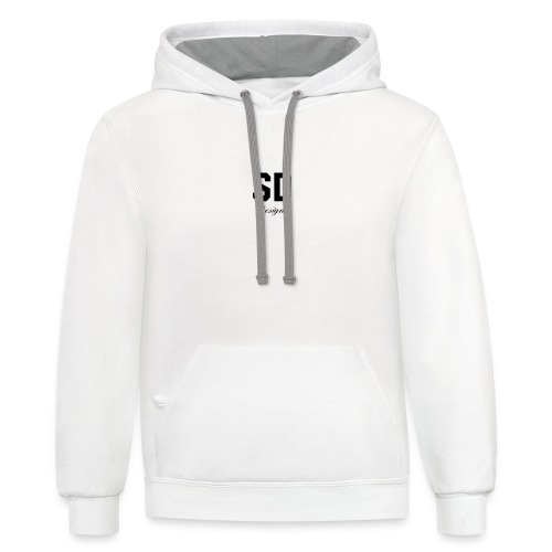 SD Designs blue, white, red/black merch - Unisex Contrast Hoodie