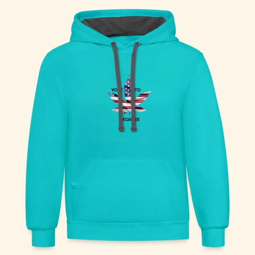 VOTE TO LEGALIZE - AMERICAN CANNABISLEAF SUPPORT - Contrast Hoodie