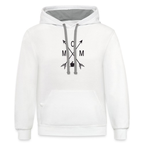 Mom Loves Coffee (black ink) - Contrast Hoodie