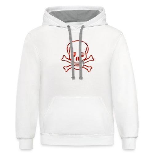 Skull & Cross Bones Red Plaid - Unisex Contrast Hoodie