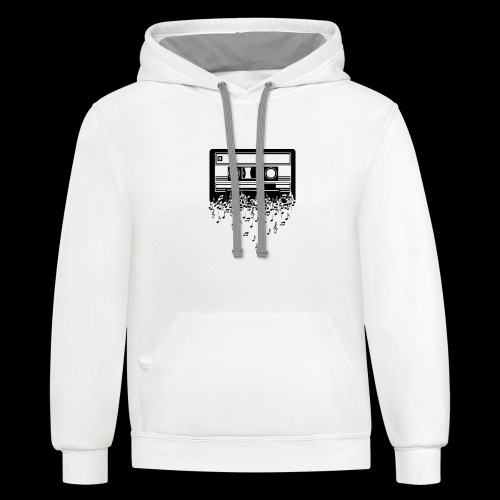Music Notes Cassette Tape - Contrast Hoodie
