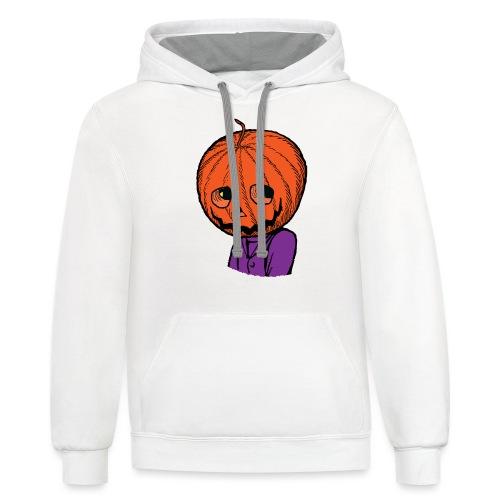 Pumpkin Head Halloween - Contrast Hoodie