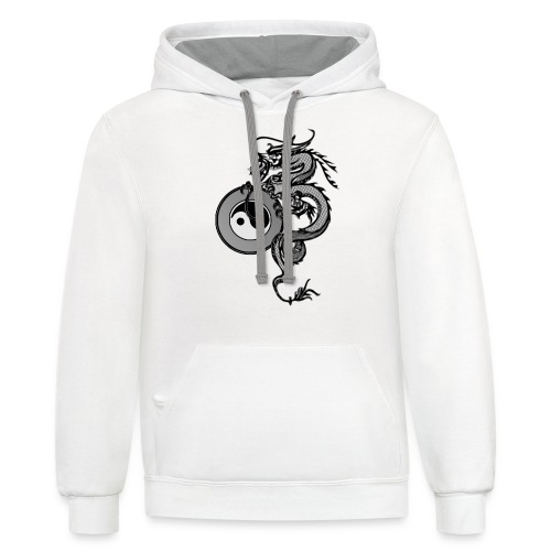 dragon with yin yang - Unisex Contrast Hoodie