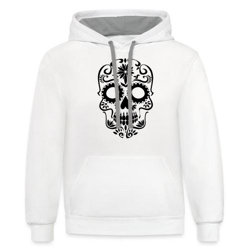 Black drawn skull - Contrast Hoodie