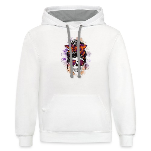 Hippie Skull - Unisex Contrast Hoodie