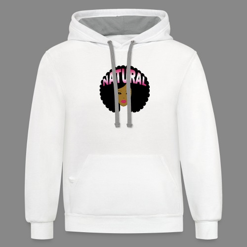Natural Afro (Pink) - Contrast Hoodie