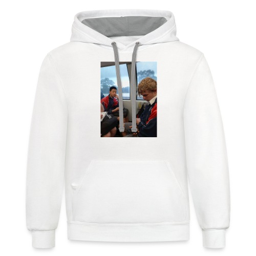 VOOMAS TIME on the train - Unisex Contrast Hoodie
