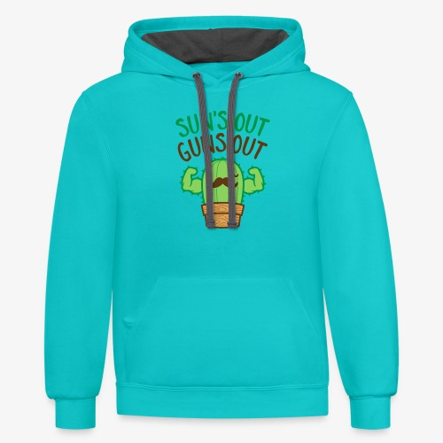 Sun's Out Guns Out Macho Cactus - Contrast Hoodie