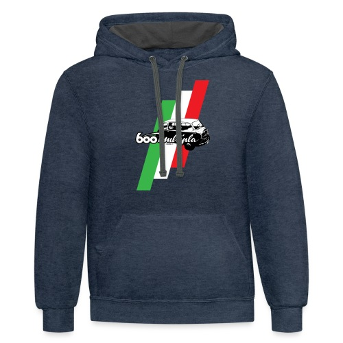 Fiat 600 Multipla script and illustration - - Contrast Hoodie
