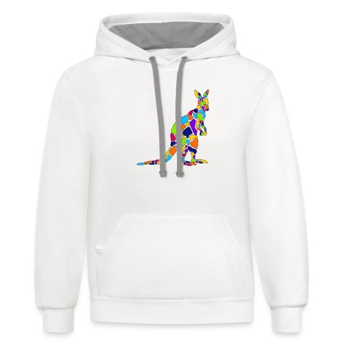 Art Deco kangaroo - Unisex Contrast Hoodie
