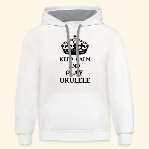keep calm play ukulele bl - Unisex Contrast Hoodie