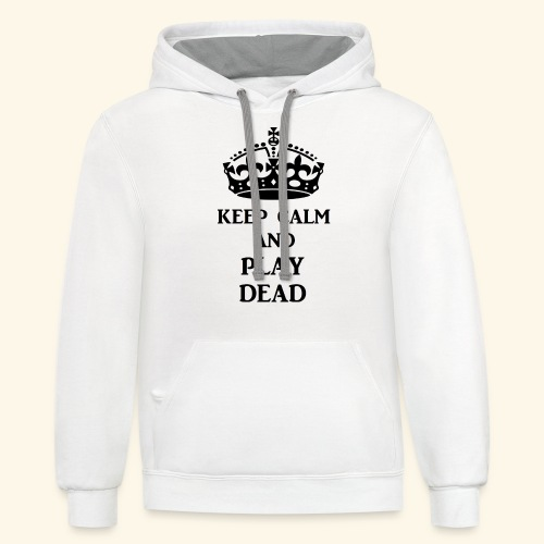 keep calm play dead blk - Unisex Contrast Hoodie