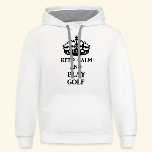 keep calm play golf blk - Unisex Contrast Hoodie