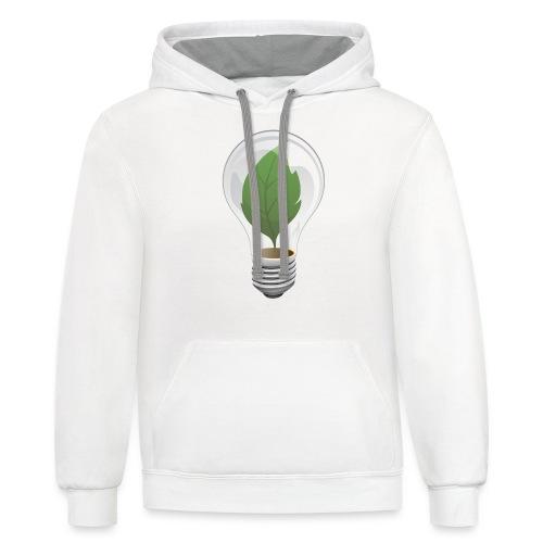 Clean Energy Green Leaf Illustration - Contrast Hoodie