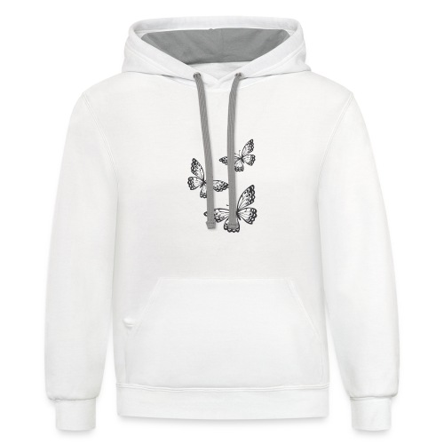 be_you_tiful_grey_white_text - Unisex Contrast Hoodie