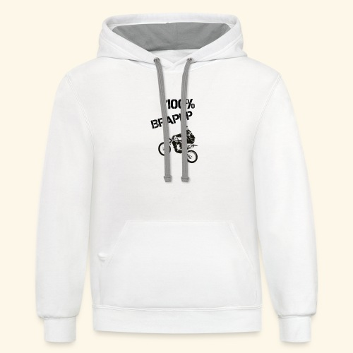 100% BRAPPP (Black and White) - Contrast Hoodie