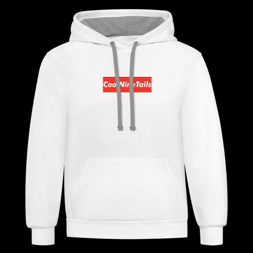 CoolNineTails supreme logo - Contrast Hoodie
