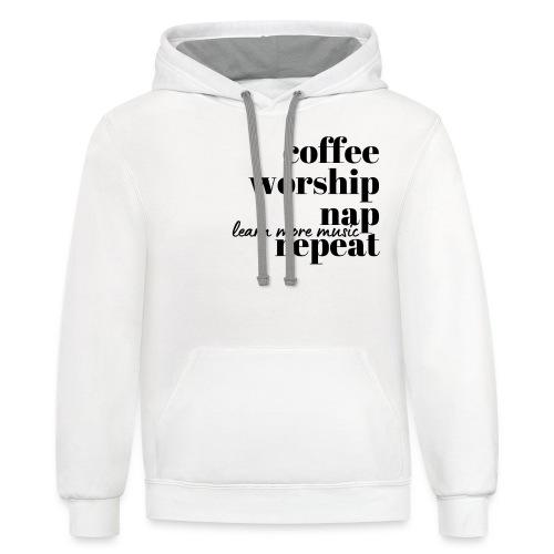 Coffee Worship Nap Tee - Unisex Contrast Hoodie