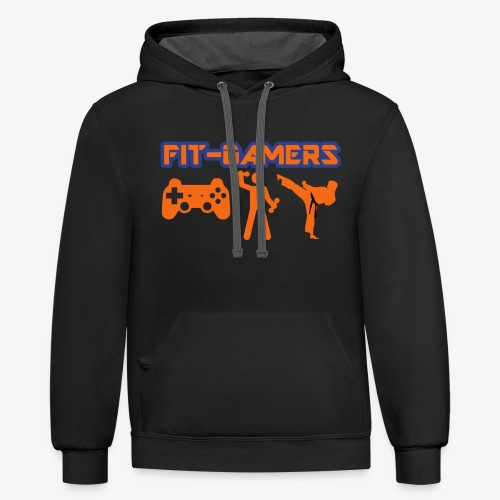 FIT-GAMERS Logo w/ Icons - Contrast Hoodie