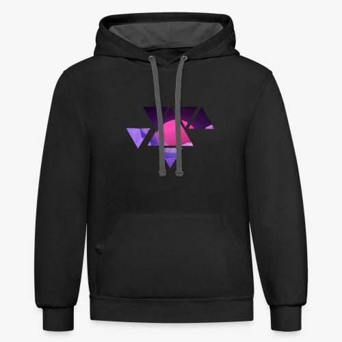 abstract retro design - Contrast Hoodie