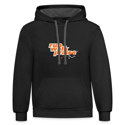 Run, Walk, Praise Fitness Shirt - Orange - Contrast Hoodie