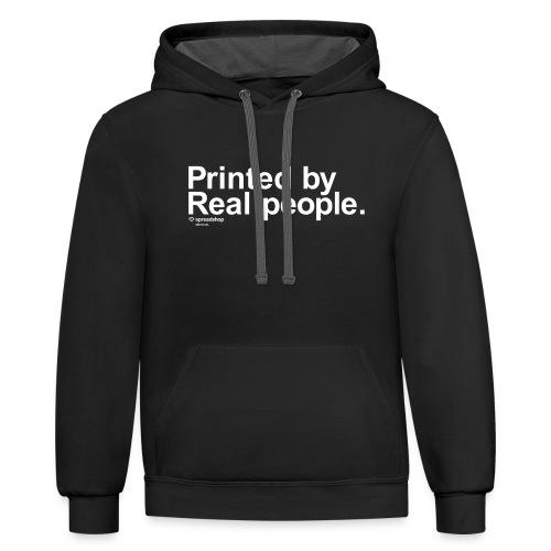 PrintedByRealPeople simple white - Contrast Hoodie