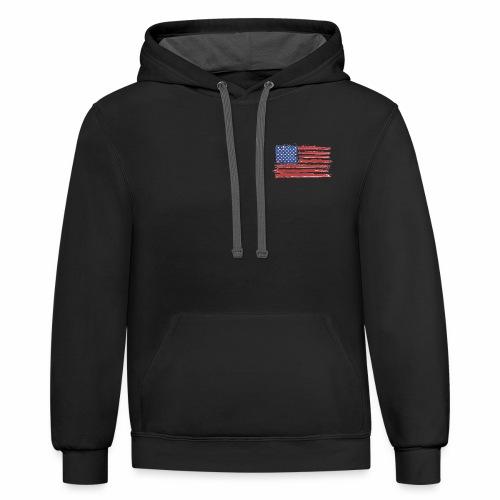 American Flag Brushed - Contrast Hoodie