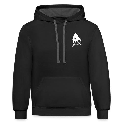 Gorilla Logo, White W/ Text - Contrast Hoodie