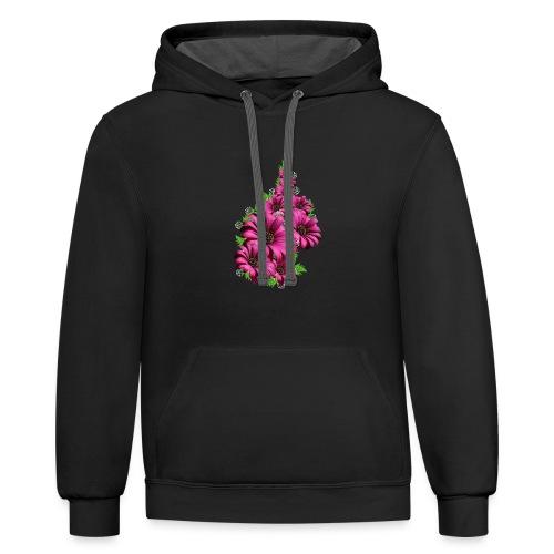 Pink Daisy Flowers - Contrast Hoodie
