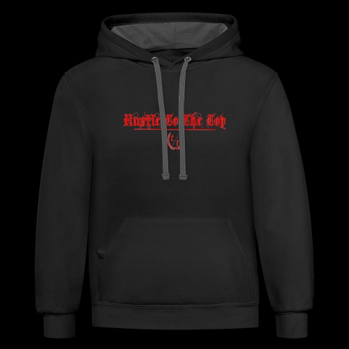 Hustle To The Top - Red Text - Contrast Hoodie