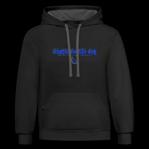 Hustle To The Top - Blue Text - Contrast Hoodie